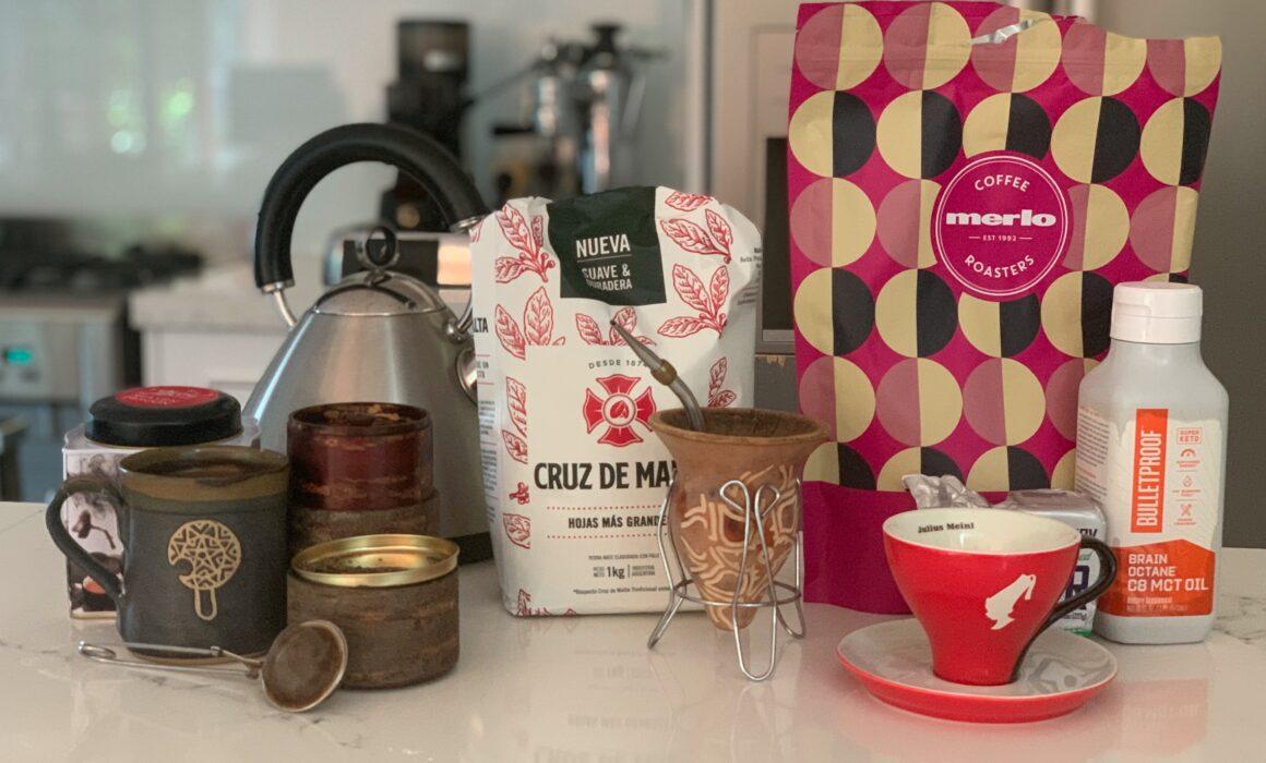 Bulletproof coffee Yerba Mate and Dragon well Tea